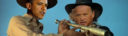 Obama and Biden bring justice to America Blazing Saddles style